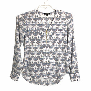 Express Womens XS Roll Tab Sleeves Peacock Blouse